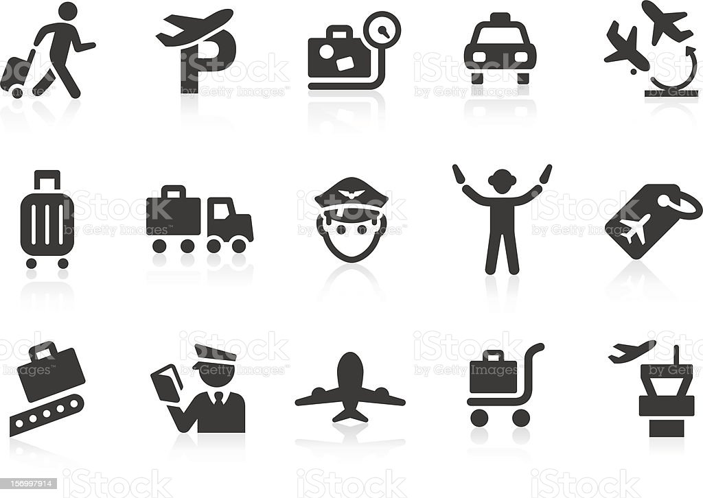 Airport icons 2 vector art illustration