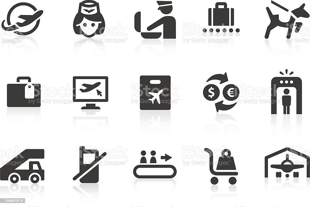 Airport icons 3 vector art illustration