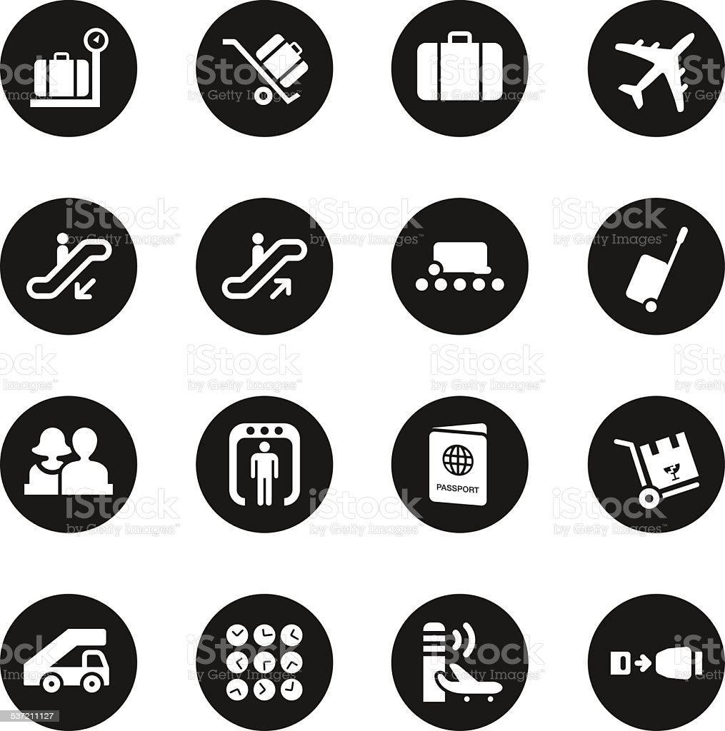 Airport Icons - Black Circle Series vector art illustration