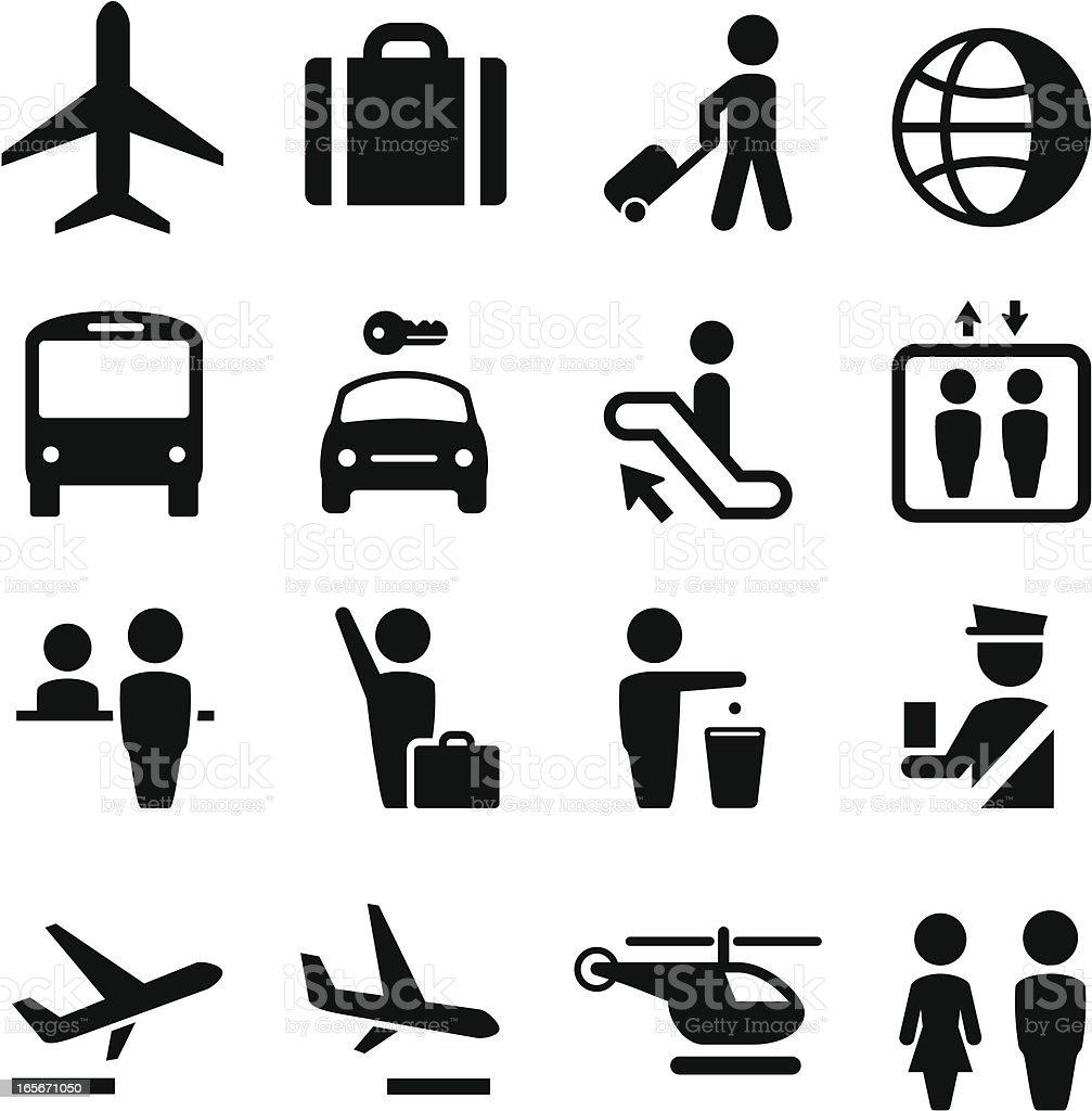 Airport Icons - Black Series vector art illustration
