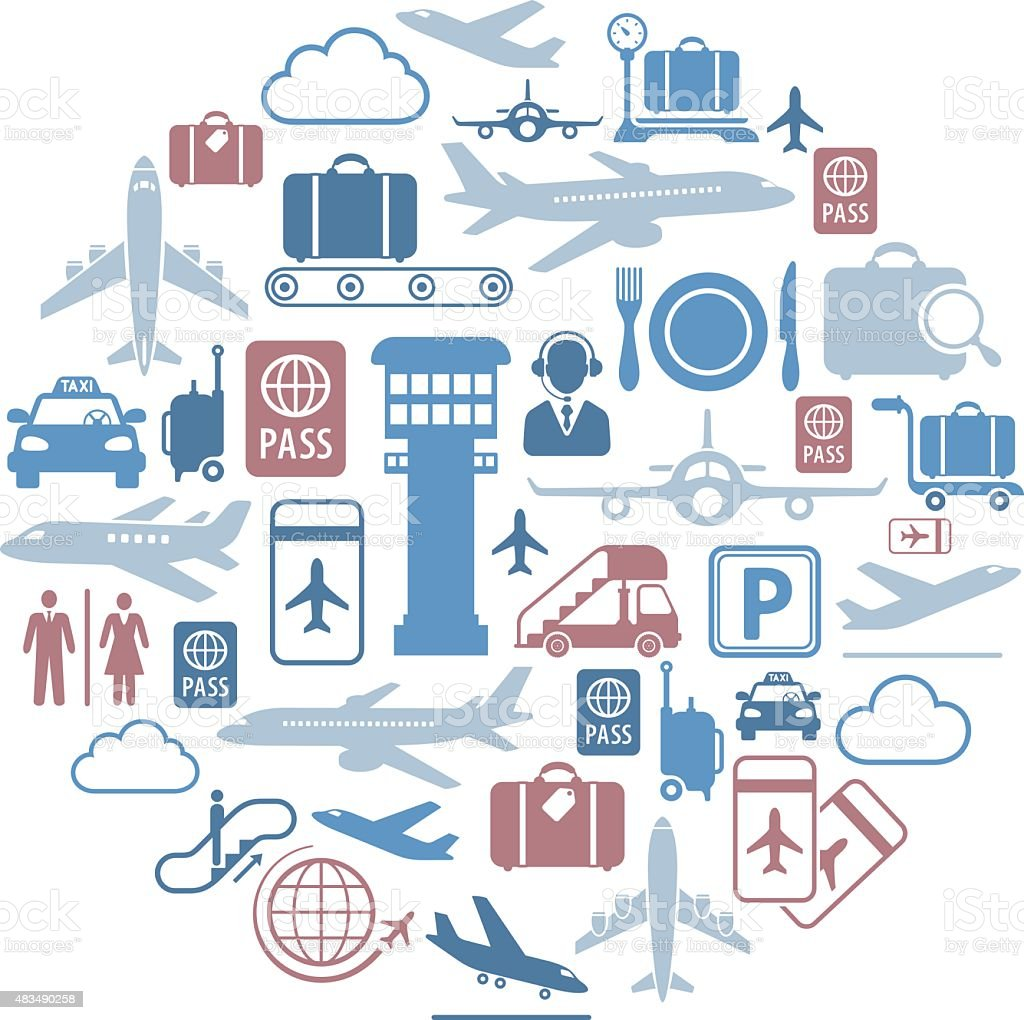 Airport Icons Collage vector art illustration