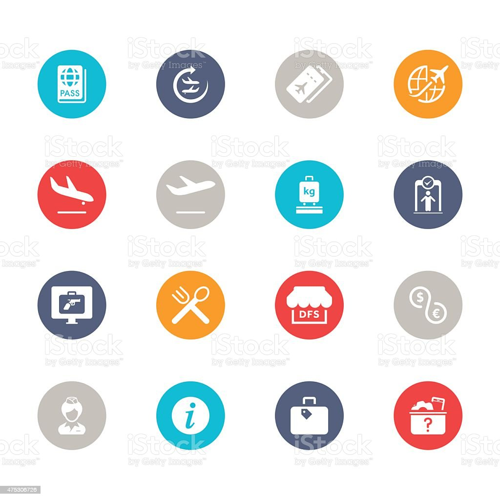 Airport Icons | Multicolor Circle Series vector art illustration