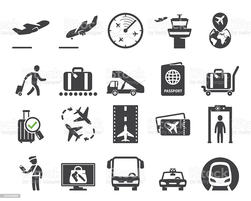 Airport icons set // 02 vector art illustration