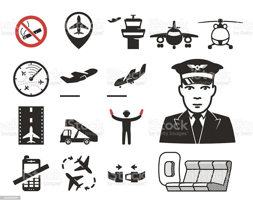 Airport icons set // 04 vector art illustration