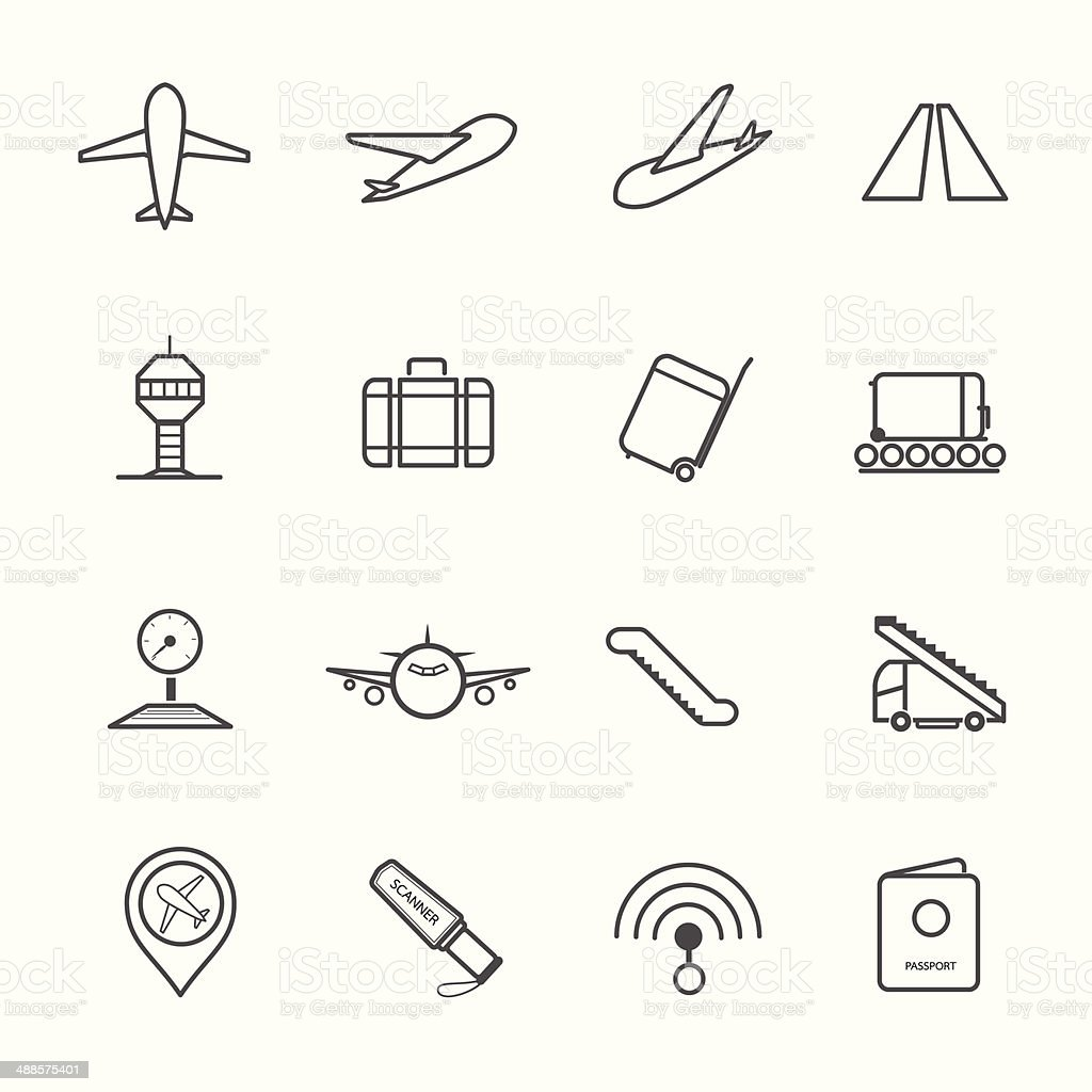 Airport Icons set. royalty-free stock vector art