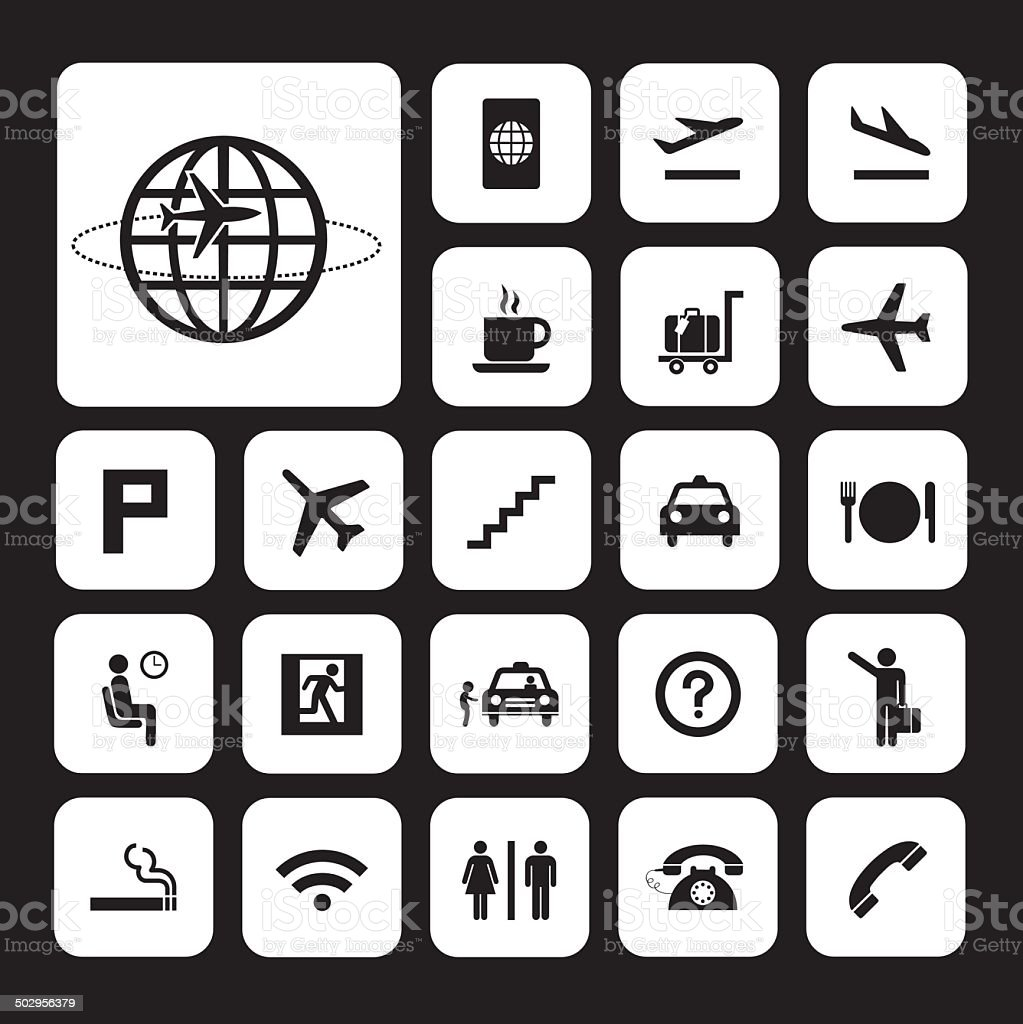 airport icons set vector art illustration