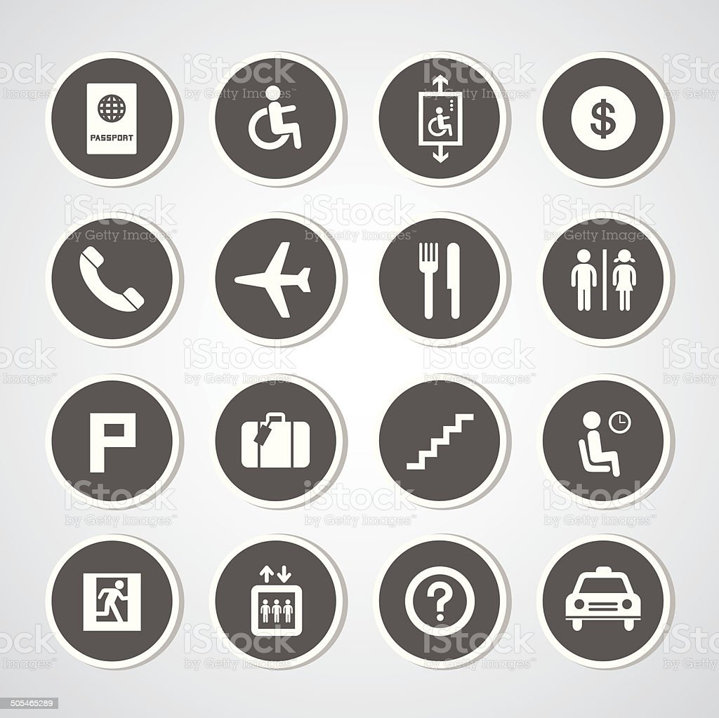 Airport icons set vector art illustration