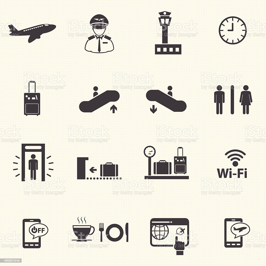 Airport icons set. Vector royalty-free stock vector art