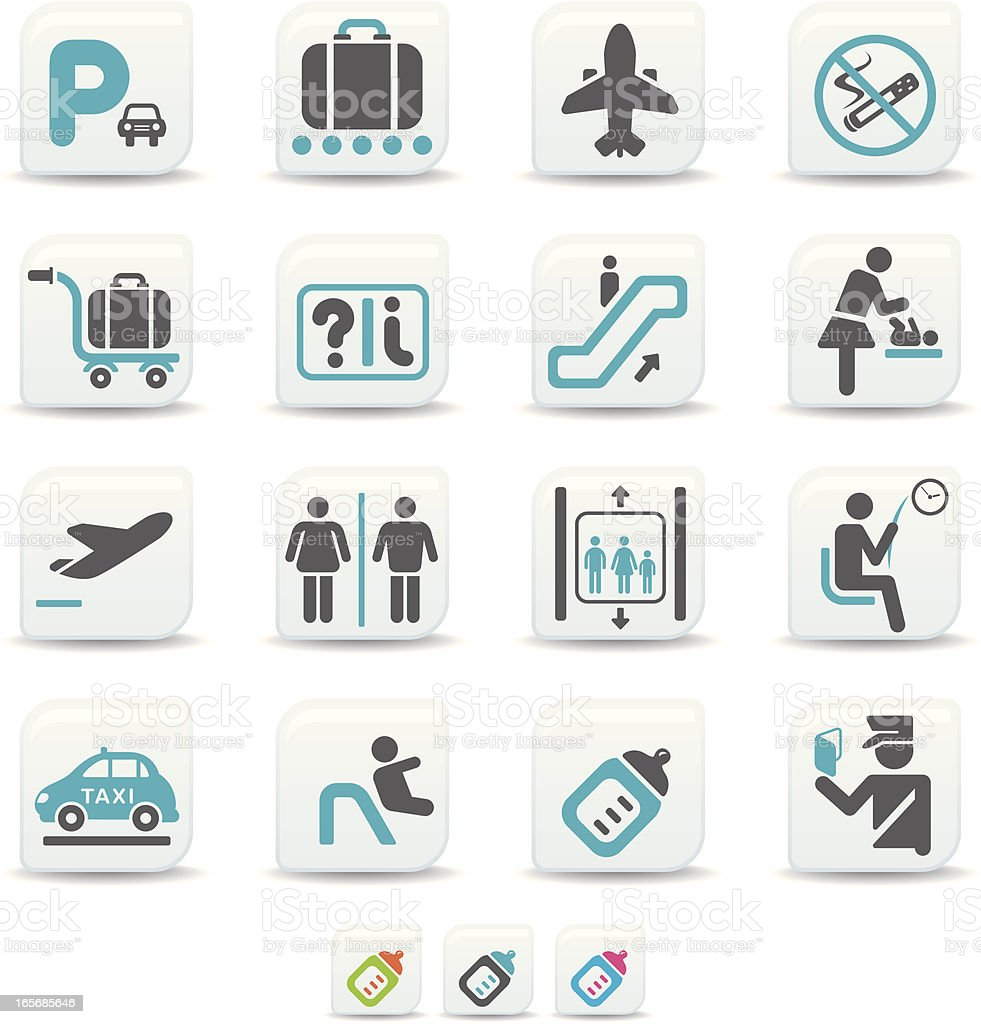 airport icons | simicoso collection royalty-free stock vector art