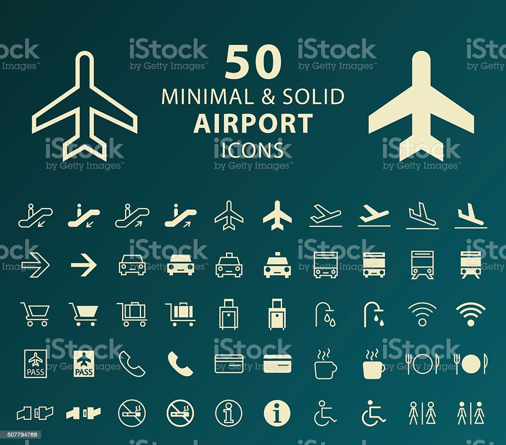 Airport Icons. vector art illustration