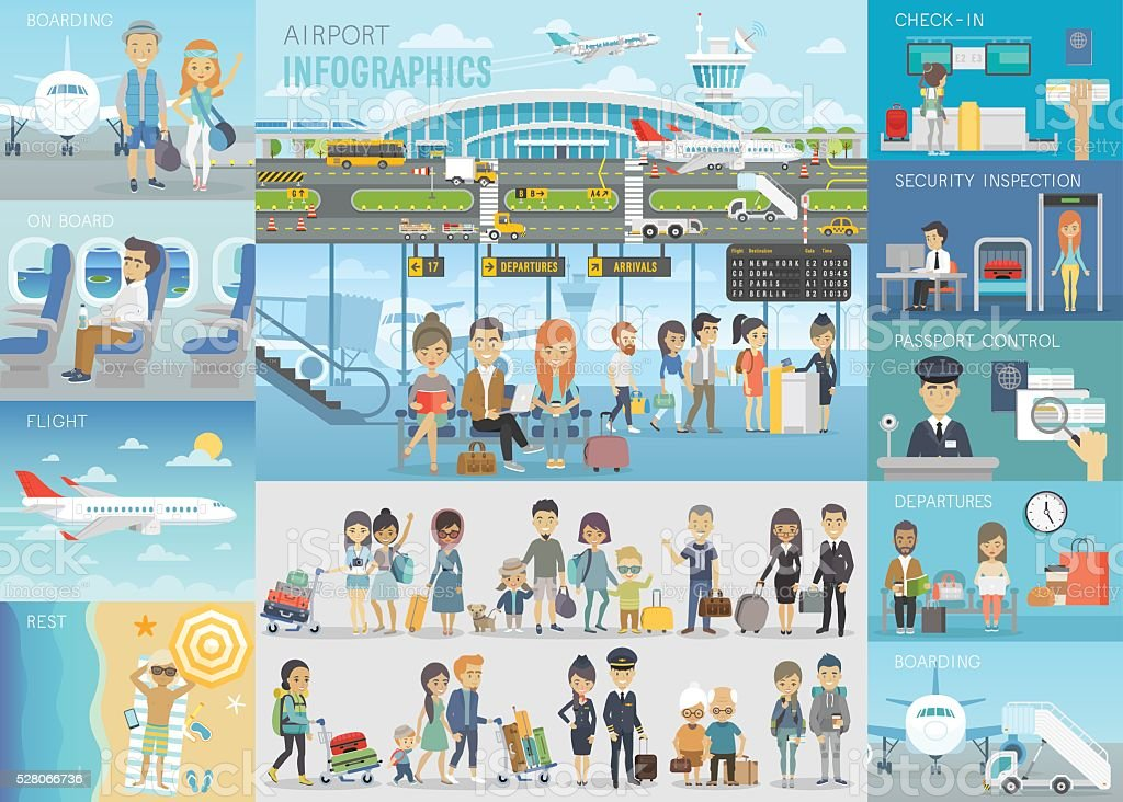 Airport Infographic set with charts and other elements. vector art illustration