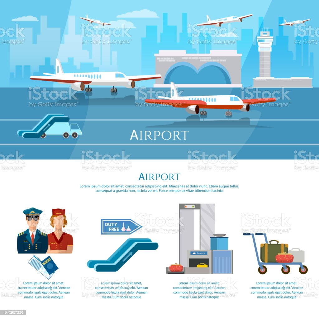 Airport infographics aircraft runway airline pilot stewardess vector art illustration
