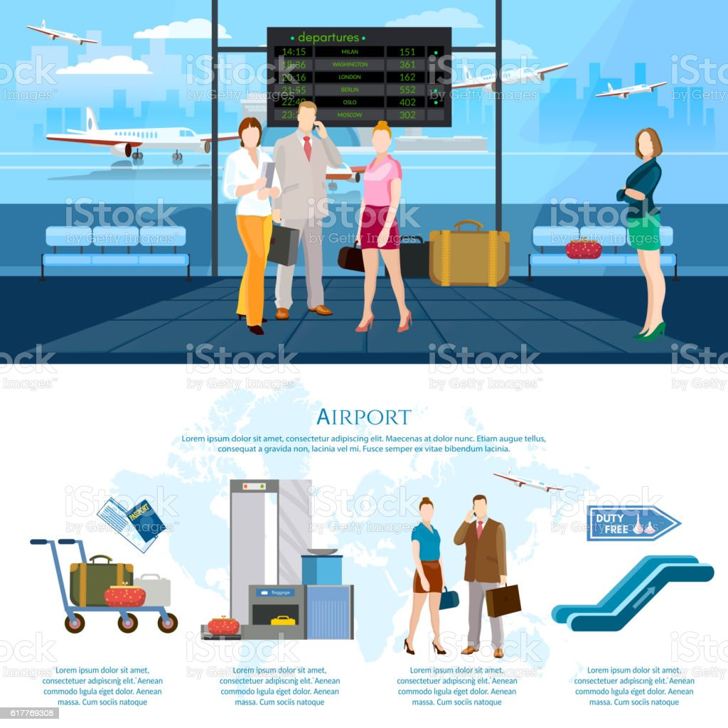 Airport infographics international airlines vector art illustration