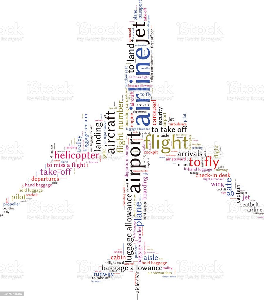 Airport info-text graphics and arrangement concept (word cloud) vector art illustration