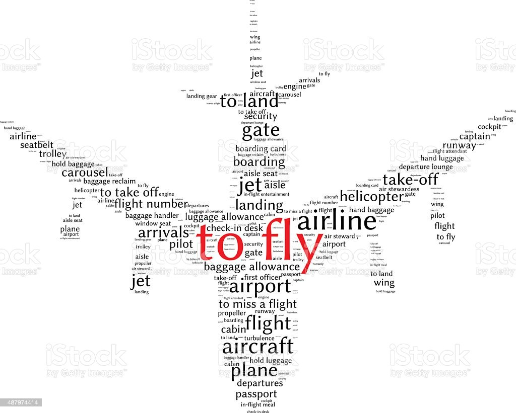 Airport info-text graphics and arrangement concept (word cloud) vector art illustration