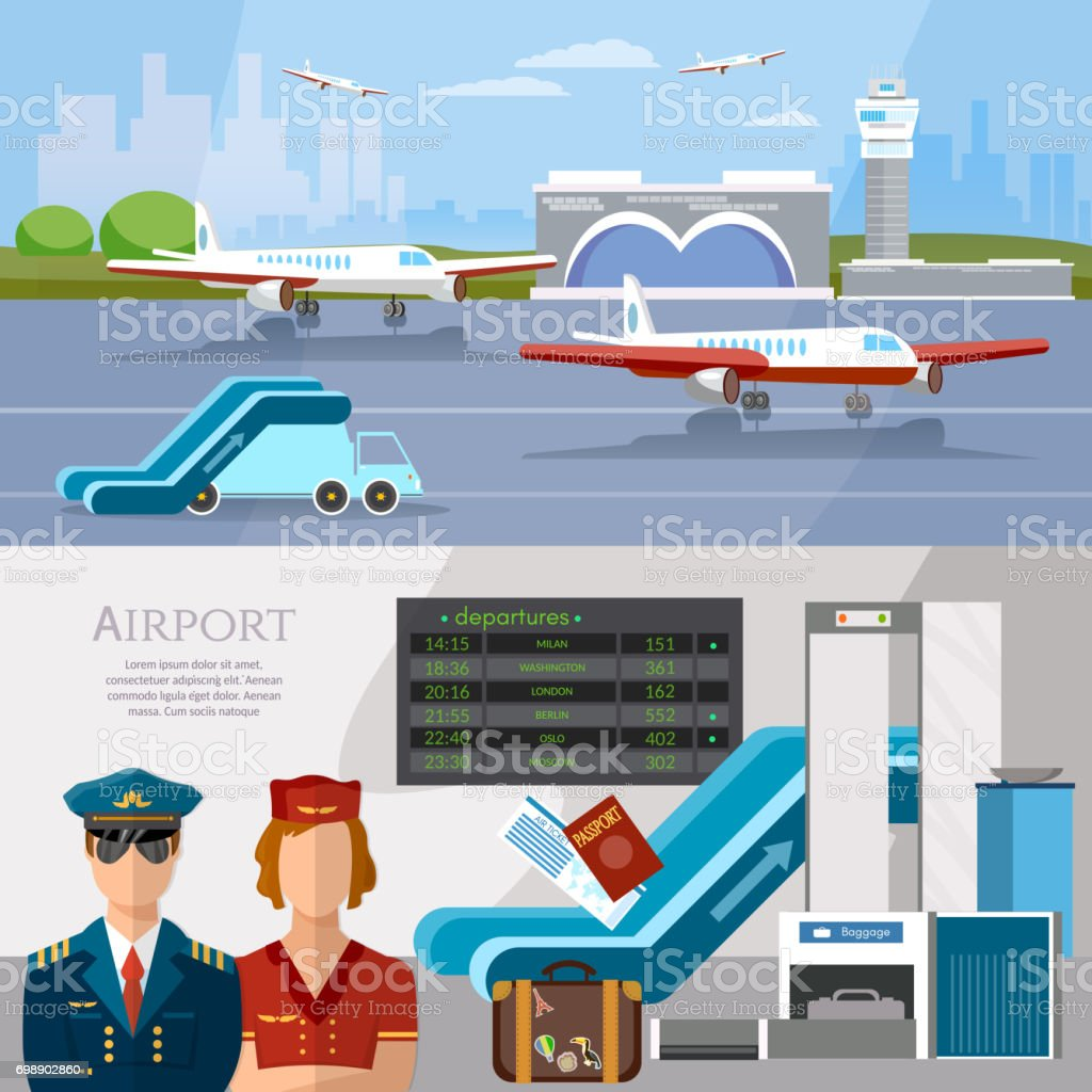 Airport international airlines banner airport terminal aircraft runway airline pilot stewardess baggage inspection scanner vector vector art illustration