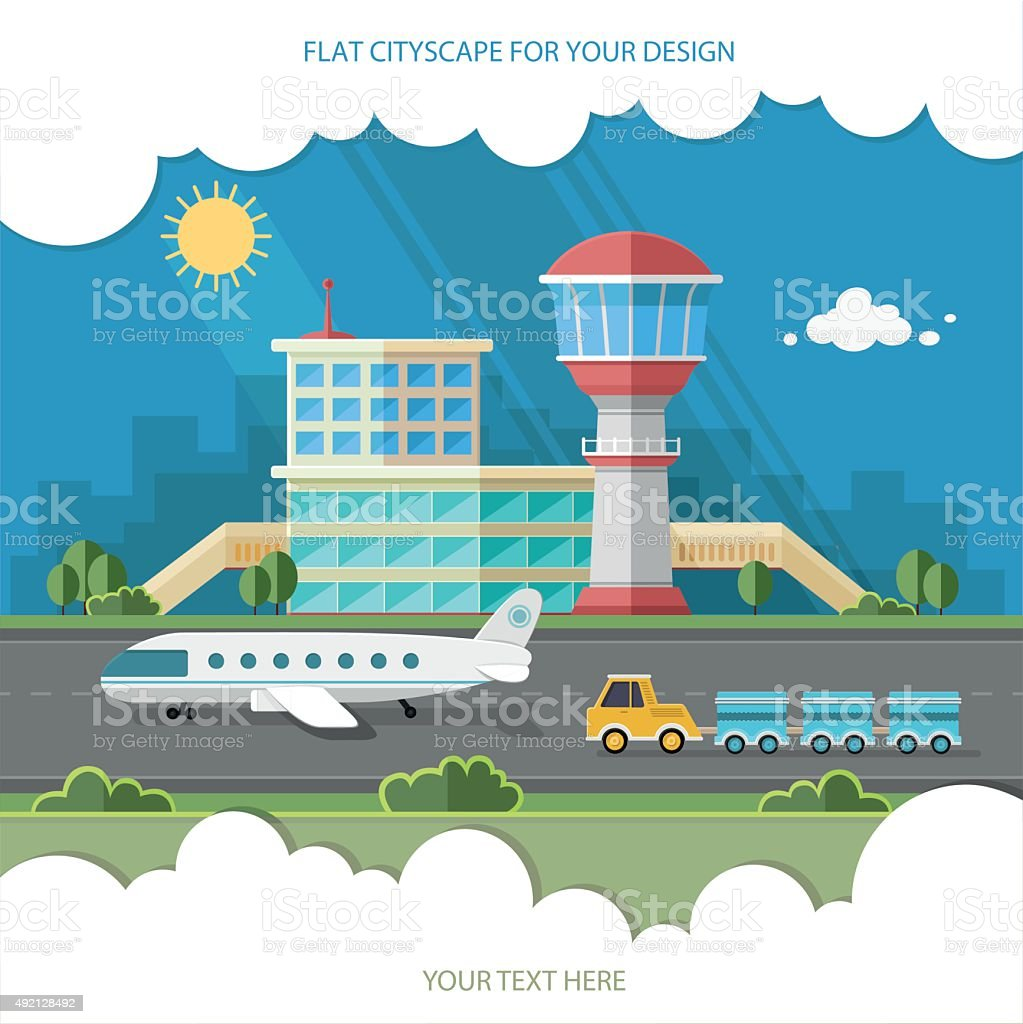 Airport landscape. Travel Lifestyle Concept of Planning Flat style vector vector art illustration