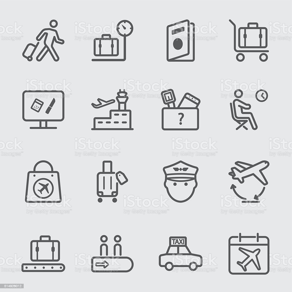 Airport line icon set 1 vector art illustration