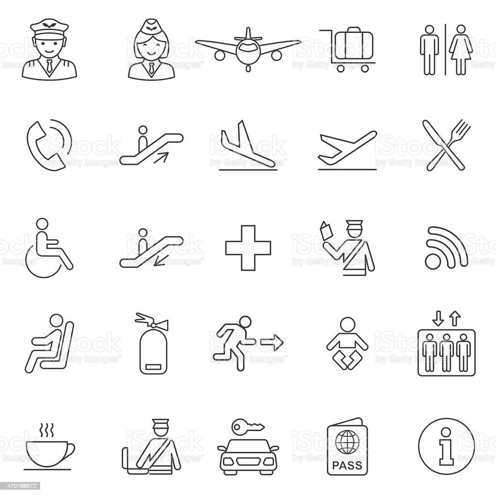 Airport line icons set.Vector vector art illustration