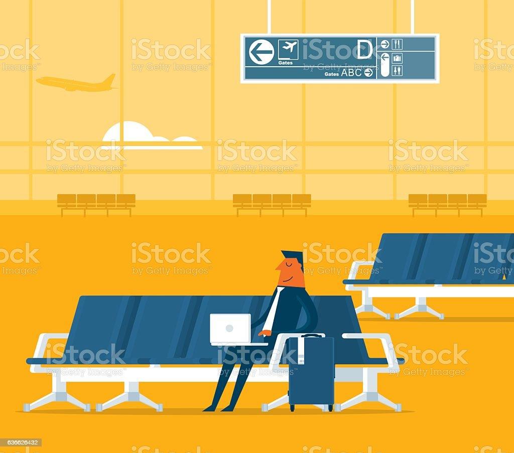 Airport lounge vector art illustration