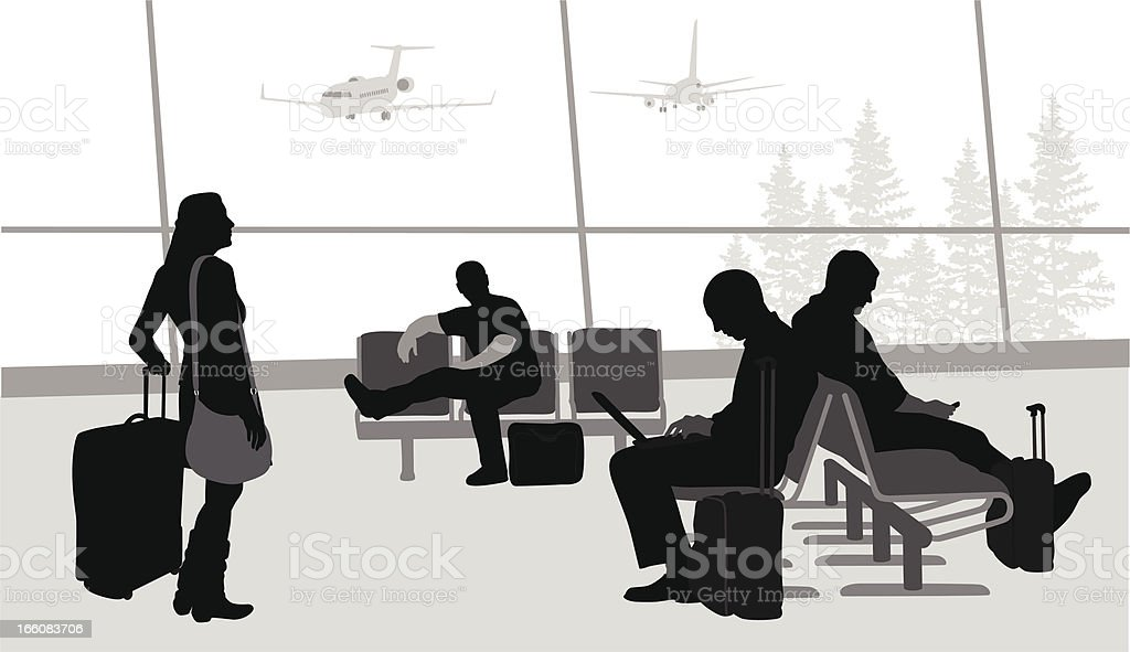 Airport Lounge Vector Silhouette vector art illustration