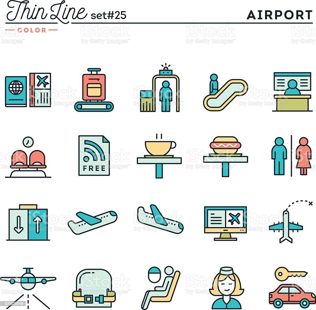 Airport, luggage scanning, flight, rent a car and more vector art illustration