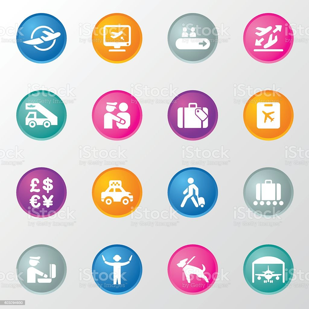 Airport Navigation Circle Color Icons vector art illustration
