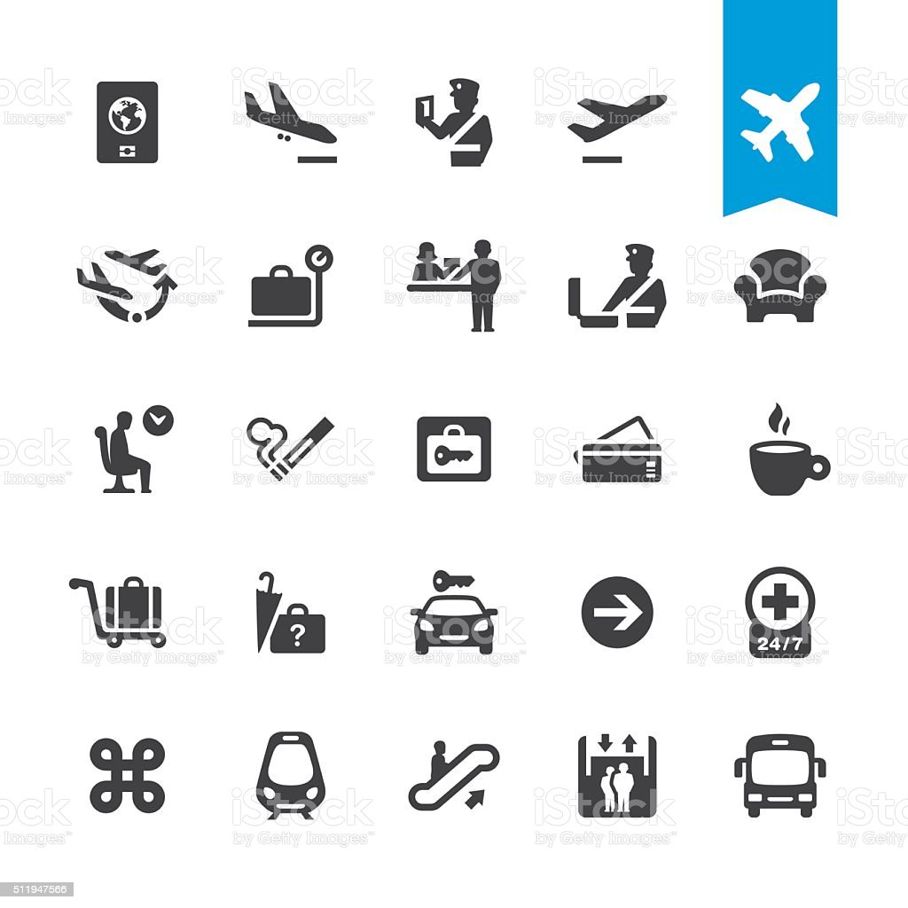 Airport navigation vector icons vector art illustration