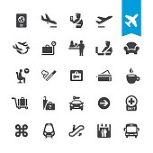 Airport navigation vector icons
