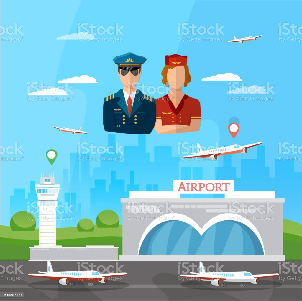 Airport pilot stewardess international airlines vector art illustration