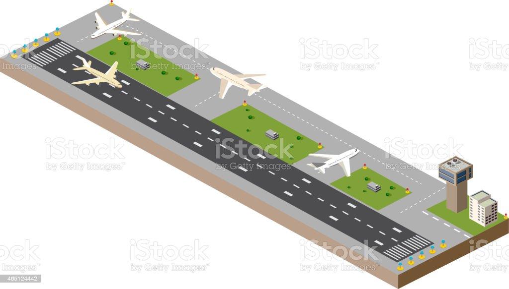 Airport runway vector art illustration
