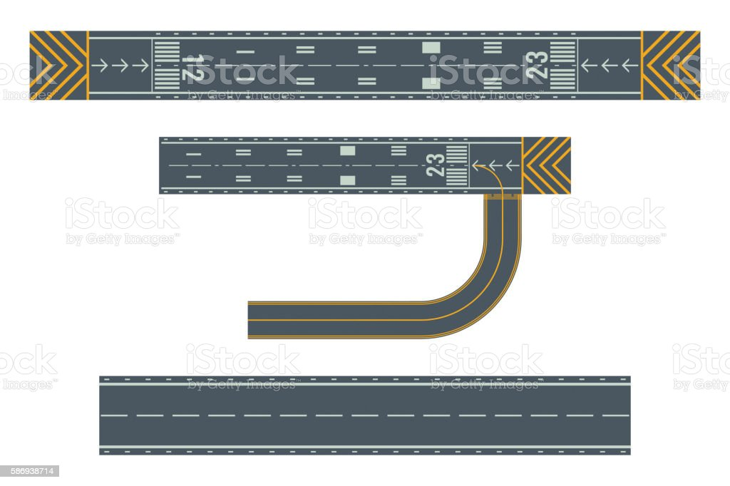 Airport runways for taking off and landing aircrafts vector art illustration
