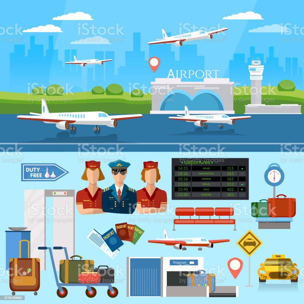 Airport set aircraft runway airline pilot stewardess vector art illustration