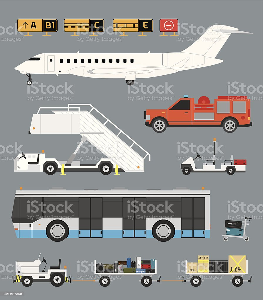 Airport set with baggage cart vector art illustration