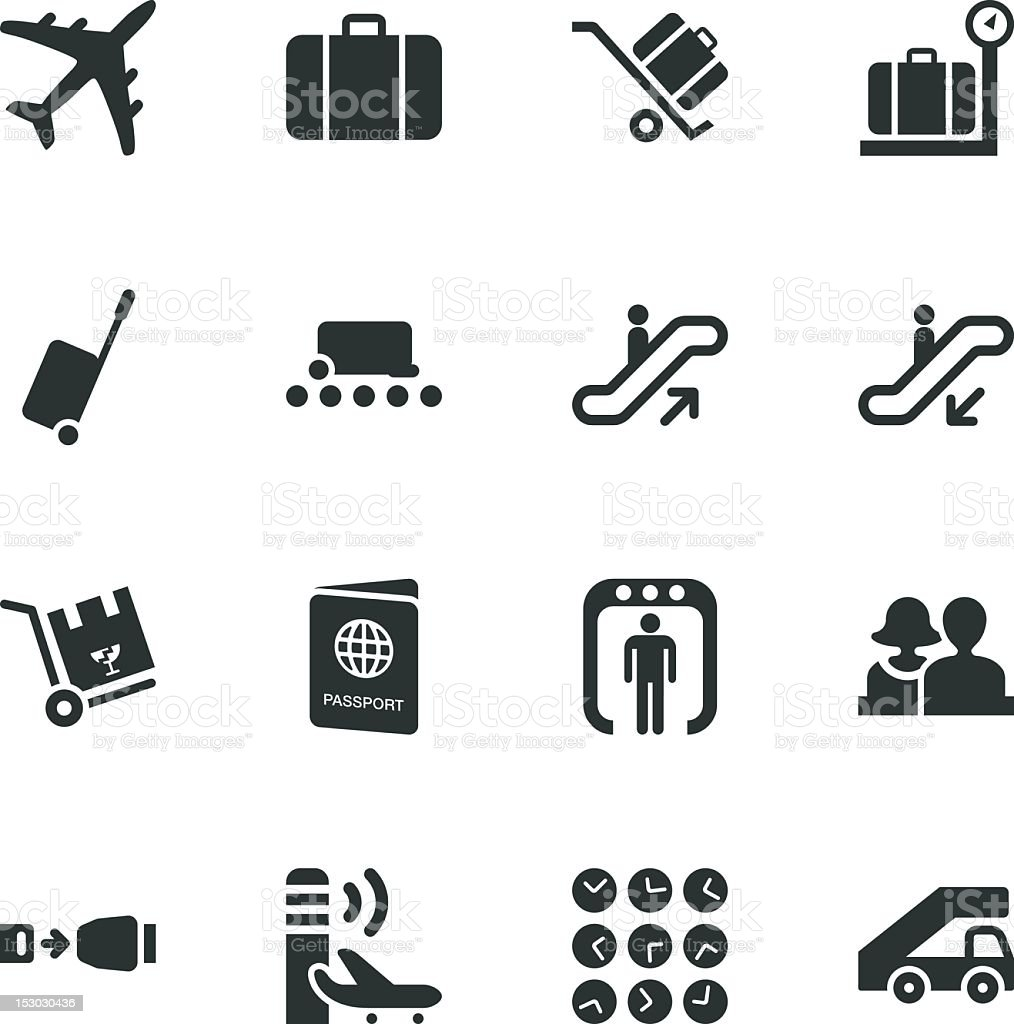 Airport Silhouette Icons vector art illustration