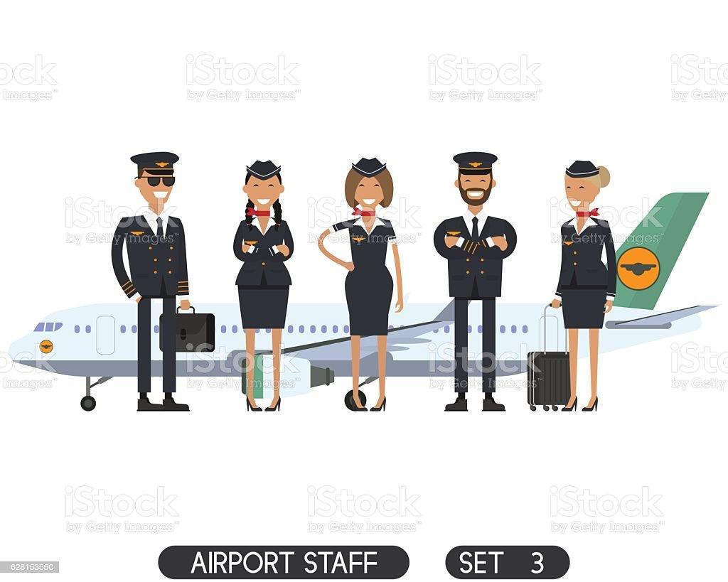 Airport staff set 3 vector art illustration