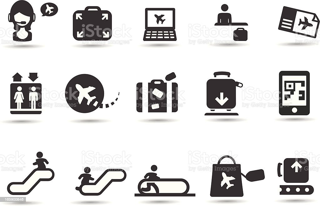 Airport Symbols vector art illustration