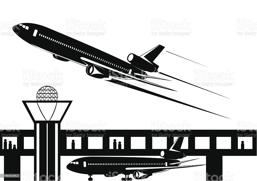 Airport take off royalty-free stock vector art