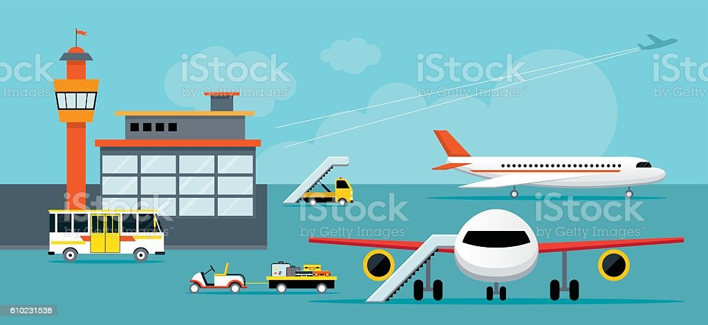 Airport, Terminal, Ground Work vector art illustration