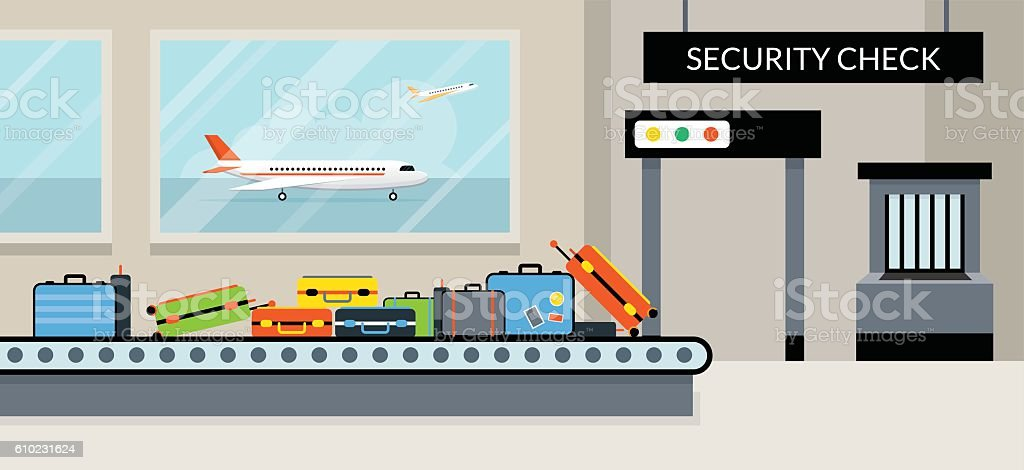 Airport Terminal Security Check vector art illustration