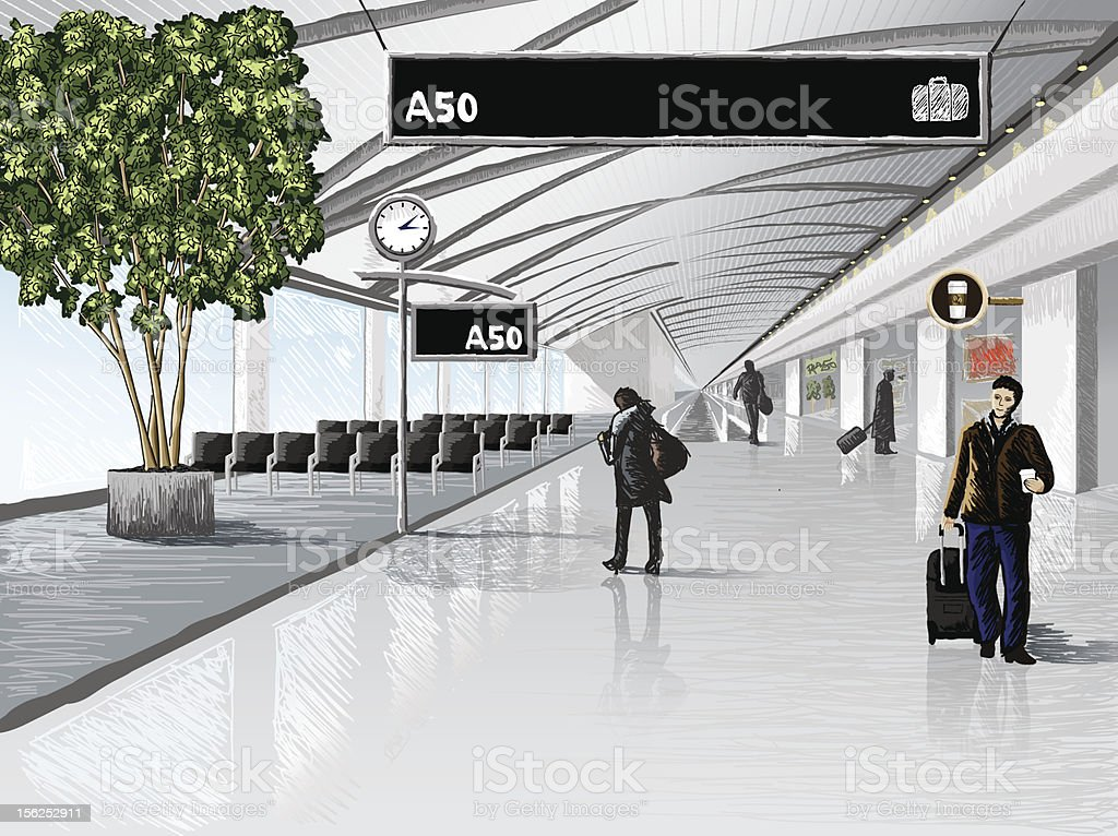 Airport Terminal vector art illustration