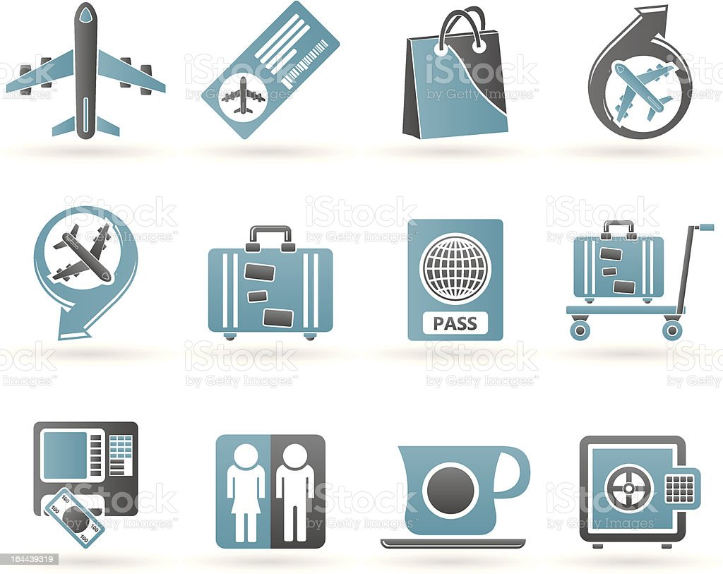 airport, travel and transportation icons 1 royalty-free stock vector art