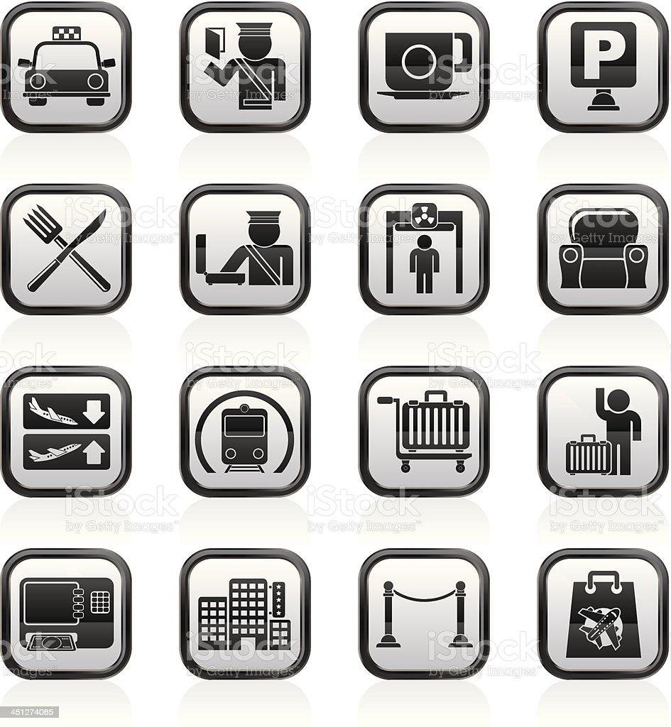 Airport, travel and transportation icons royalty-free stock vector art