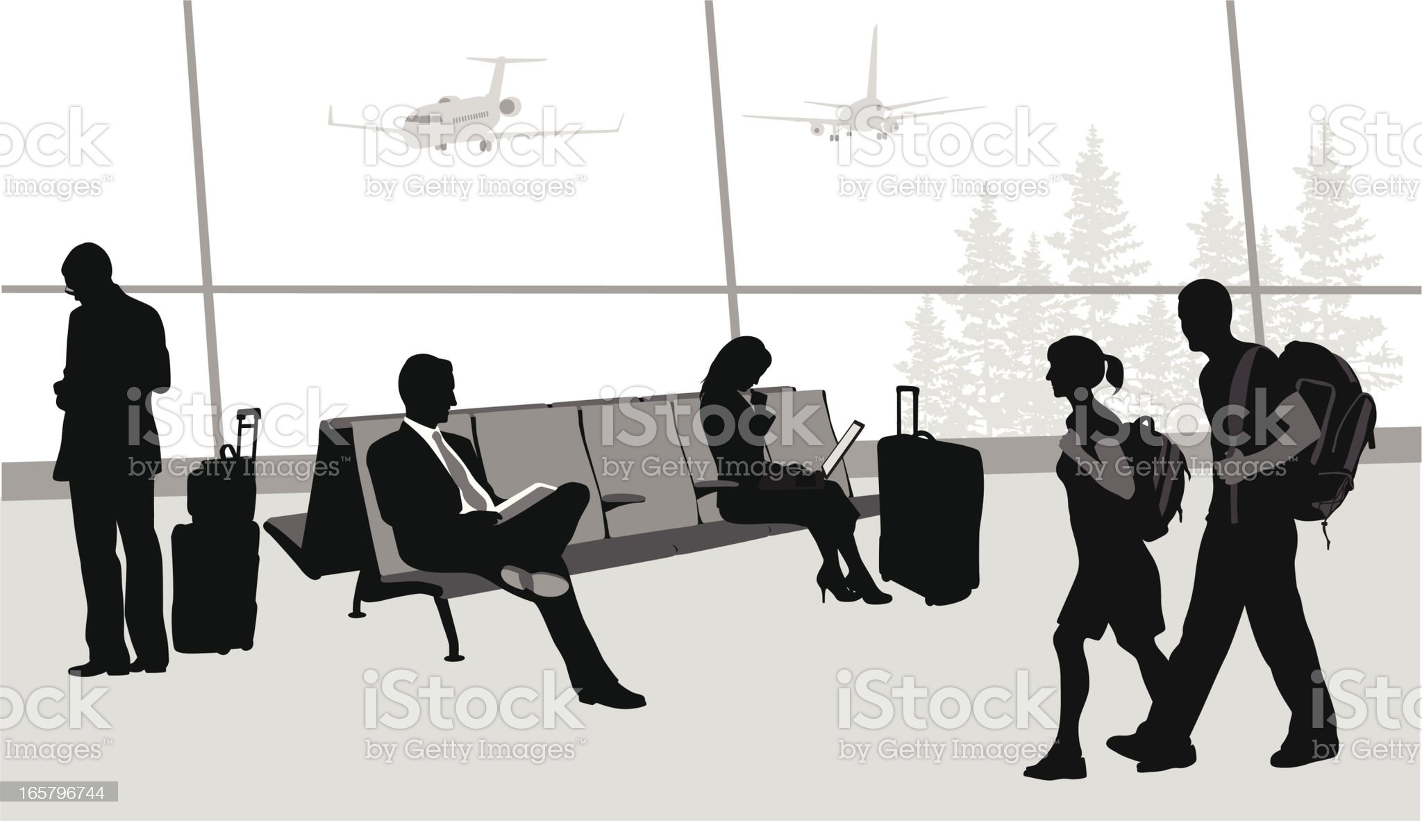 Airport Travellers Vector Silhouette royalty-free stock vector art