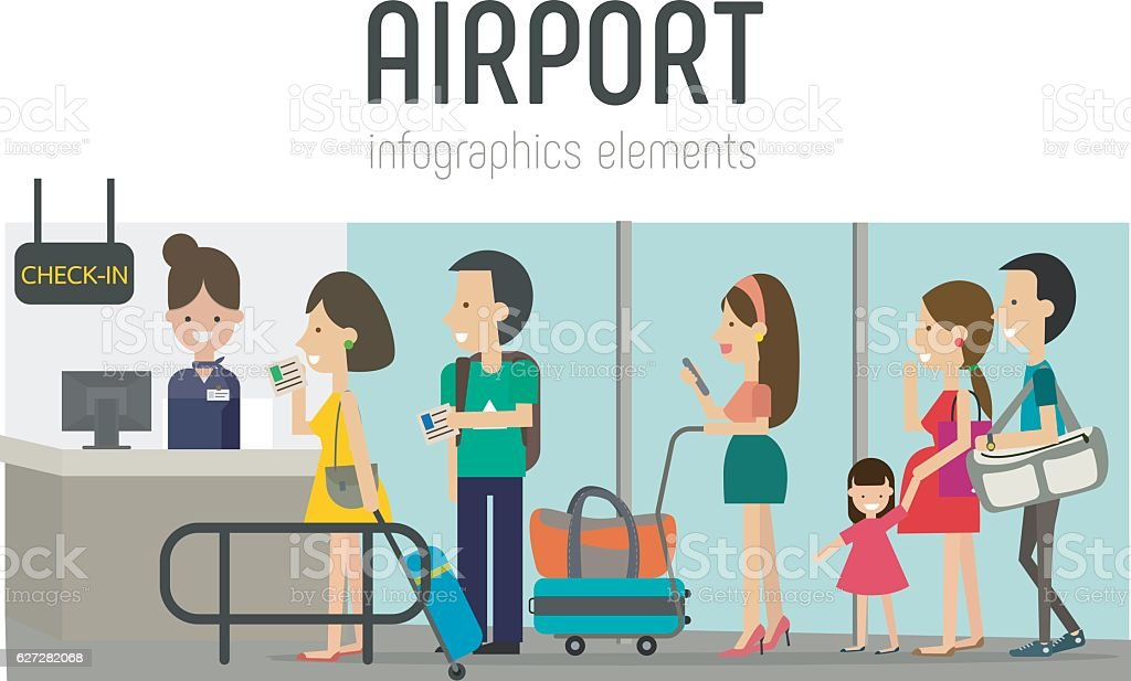 Airport vector art illustration