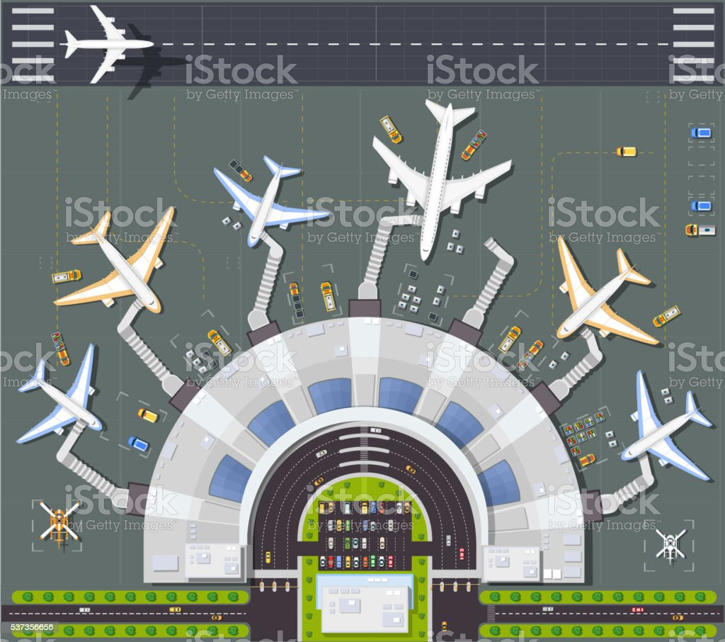 Airport view from above vector art illustration