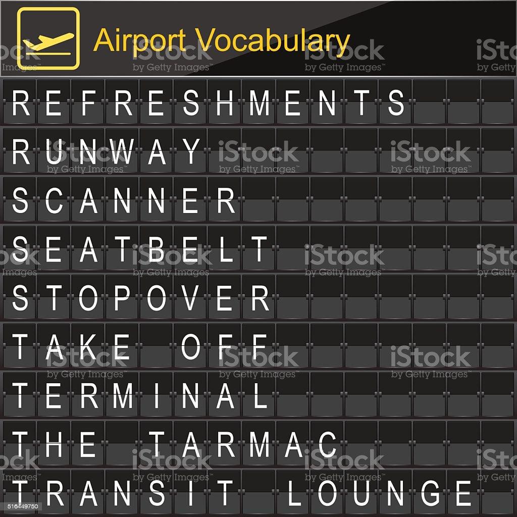 Airport Vocabulary on airport boarding vector art illustration
