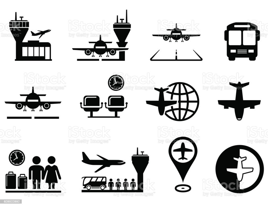 airport with plane icons set vector art illustration