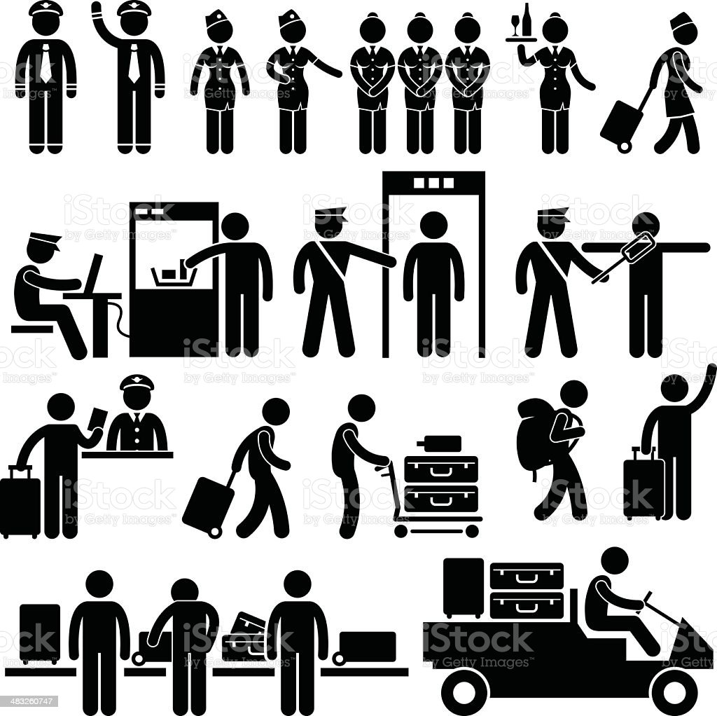 Airport Workers and Security Pictogram vector art illustration