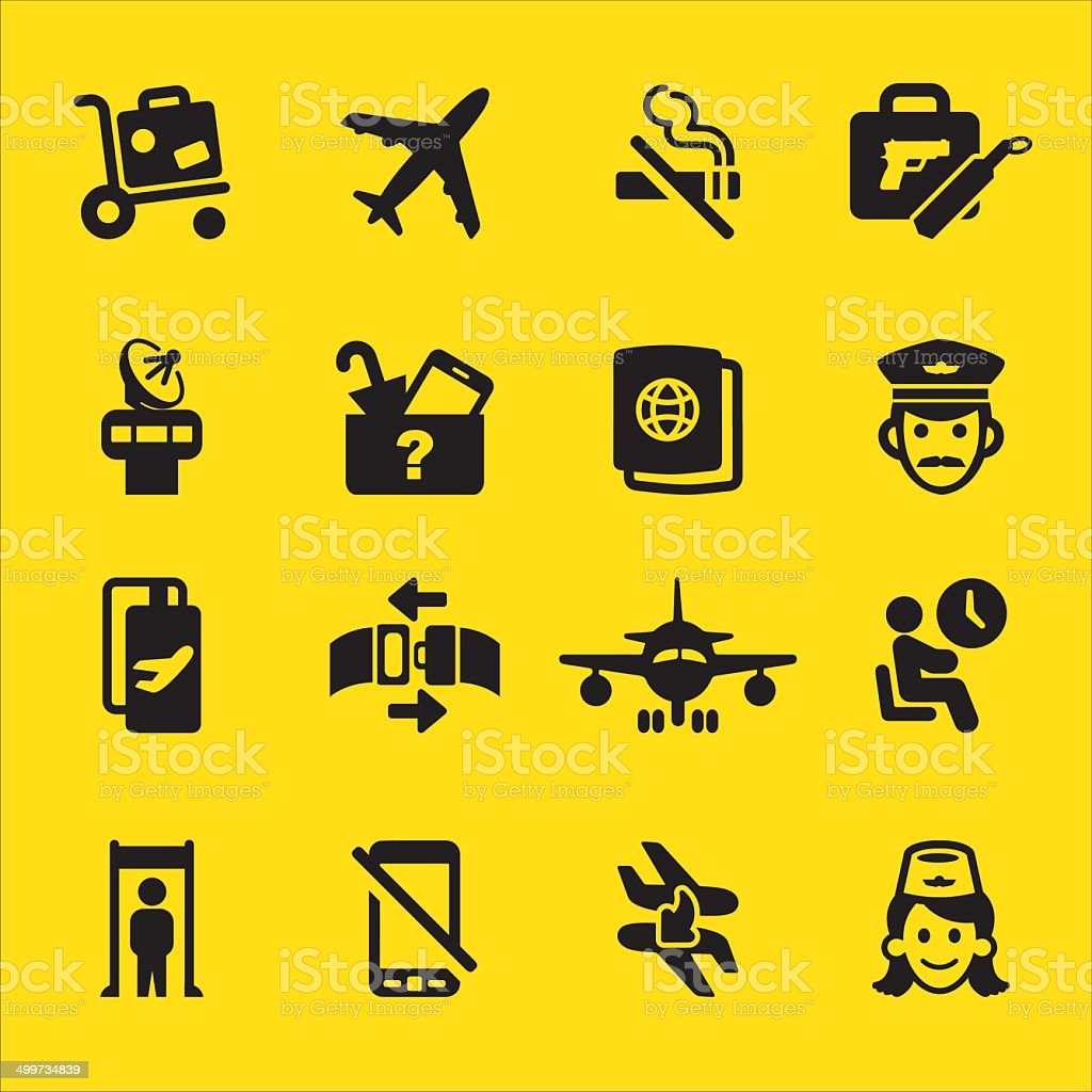 Airport Yellow Silhouette icons | EPS10 vector art illustration